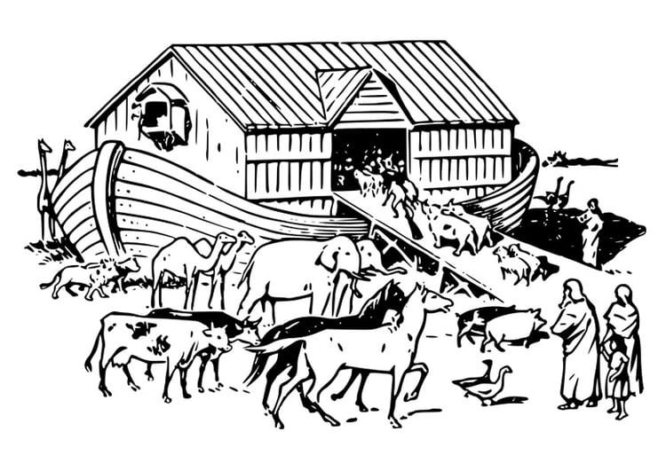 Arca De Nóe Para Colorir: Página Para Colorir A Arca De Noé