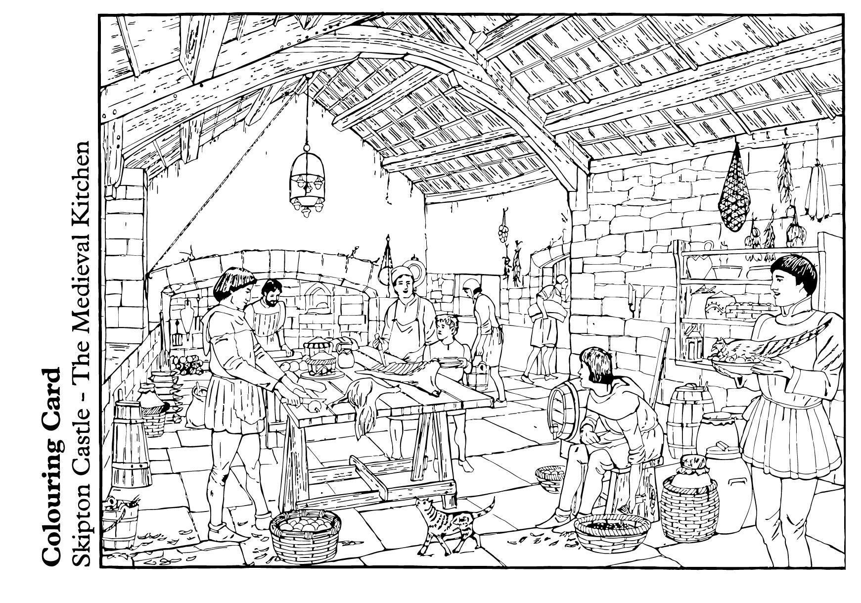 P Gina Para Colorir A Cozinha Medieval Img 14893  ~ Desenhos Para Colorir Cozinha