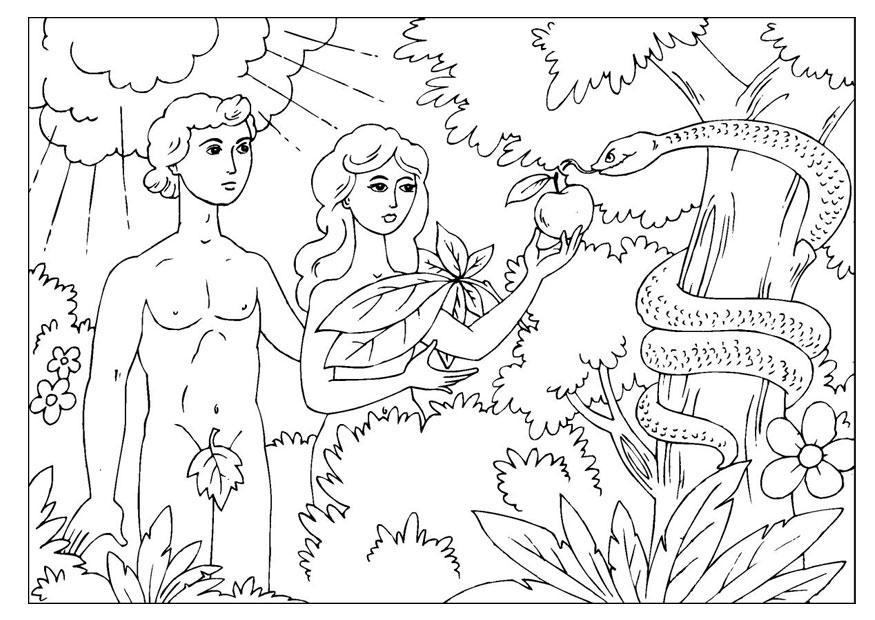 Excepcional Adán Y Eva Para Colorear Páginas Para Niños Pequeños ...