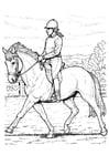 Página para colorir andar a cavalo