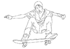 Página para colorir andar de skate