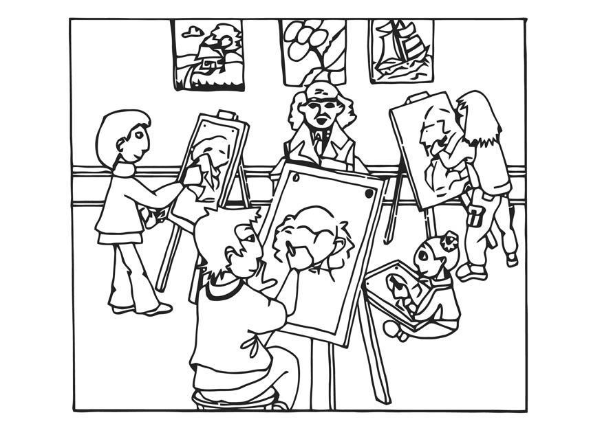 Página Para Colorir Aula De Desenho