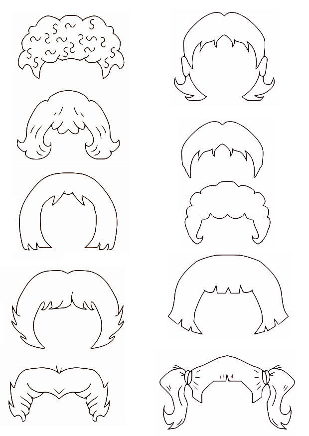 unwashed hair for coloring pages - photo#7
