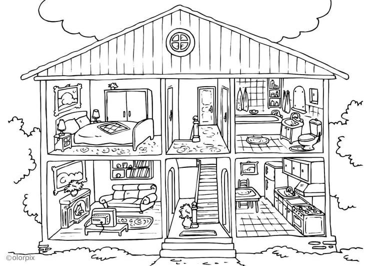 P gina para colorir casa interior img 25995 for Piani casa michigan
