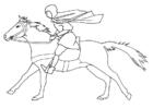 Página para colorir cavaleiro a galope