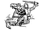 Página para colorir cavaleiro atacando