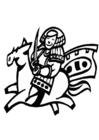 Página para colorir cavaleiro chinês