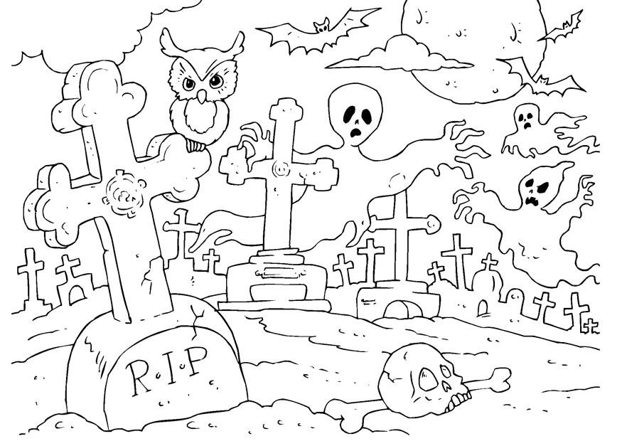 página para colorir cemitério de halloween img 22989