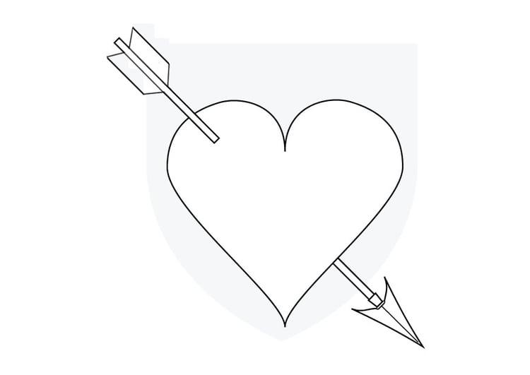 Colorir Imagens Coração Para Colorir: Página Para Colorir Coração Flechado Pelo Cupido