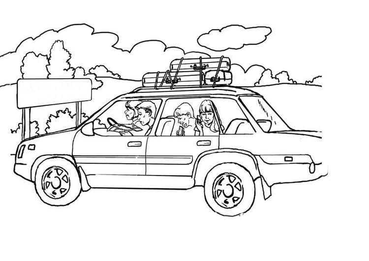 Página Para Colorir De Férias De Carro