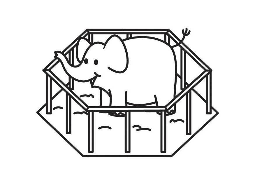 Desenho De Animais Do Zoológico Reunidos Para Colorir: Página Para Colorir Elefante Na Jaula