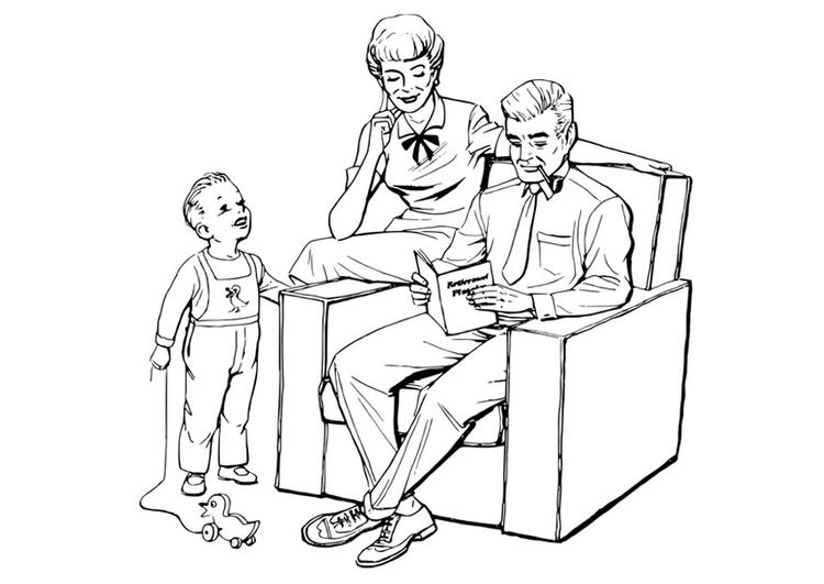Desenho Para Colorir Família Imagens Grátis Para Imprimir