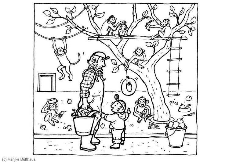 Desenho De Animais Do Zoológico Reunidos Para Colorir: Página Para Colorir Macacos No Zoológico
