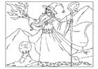 Página para colorir mago