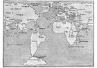Página para colorir mapa-múndi 1548