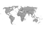 Página para colorir Mapa-múndi com fronteiras