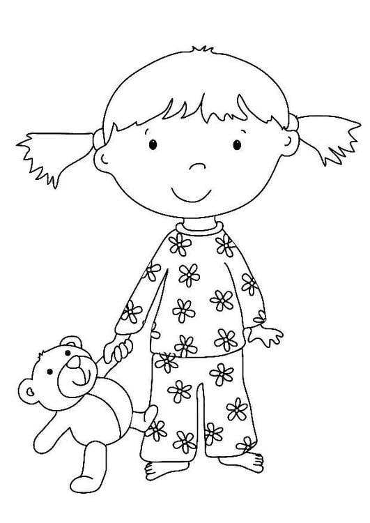 página para colorir menina com bicho de pelúcia img 7324