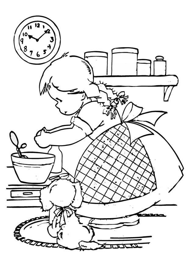 P gina para colorir menina cozinhando img 16598 for Planimetrie gratuite della casa del campione