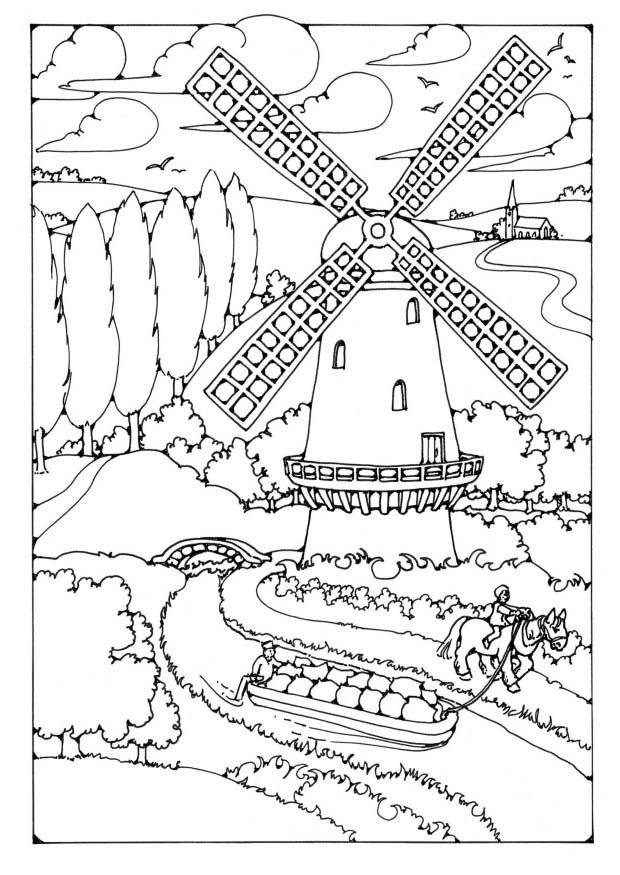 free coloring pages dutch windmill - photo#13