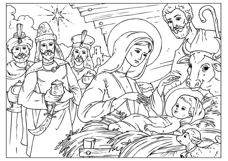 página para colorir o nascimento de jesus img 26008