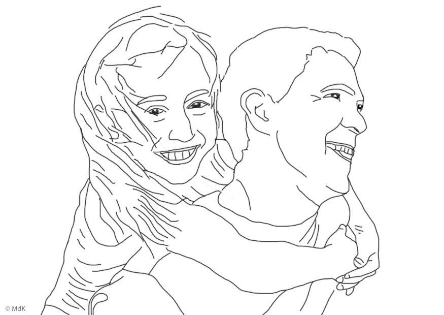 Página Para Colorir Pai E Filha