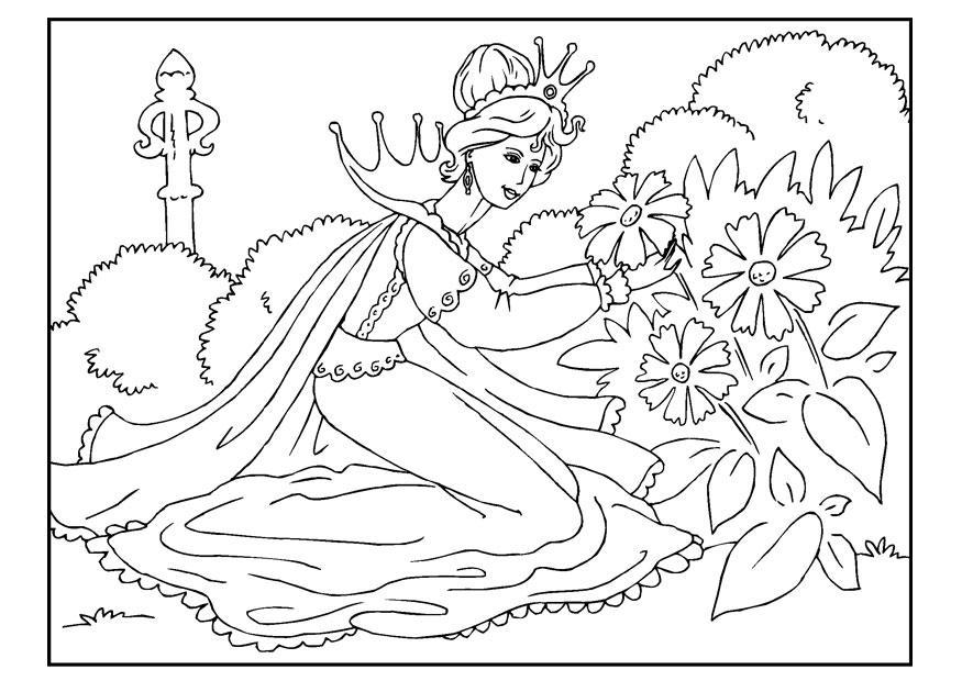 Página Para Colorir Princesa Colhendo Flores