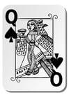 Página para colorir rainha de espadas