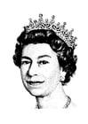 Página para colorir Rainha Elizabeth II