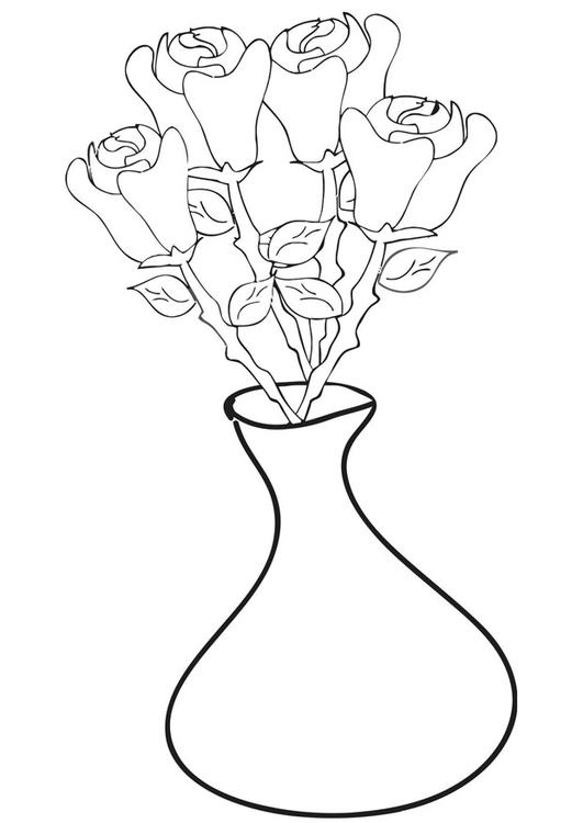 P 225 Gina Para Colorir Rosas Em Um Vaso Img 21257