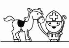 Página para colorir São Nicolau com seu cavalo