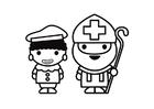 Página para colorir São Nicolau e Piet
