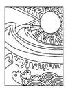 Página para colorir sol e mar