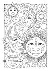 Página para colorir sol, lua e estrelas