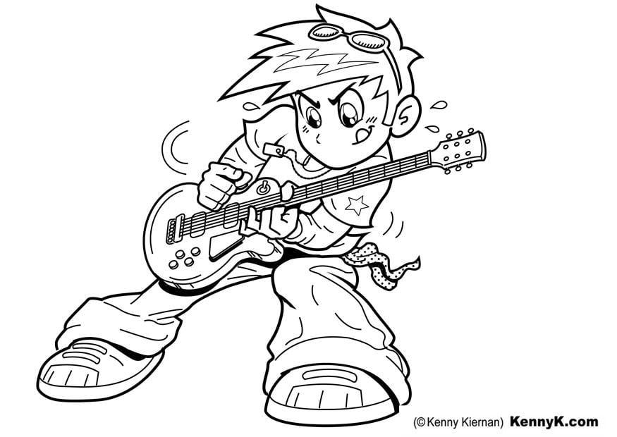 página para colorir tocar guitarra img 20087
