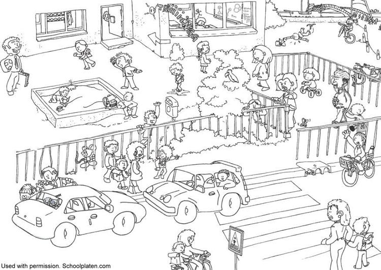 p u00e1gina para colorir tr u00e1fego na frente da escola